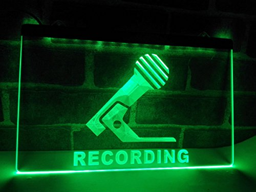 16''x12'' On Air Microphone Recording Studio LED Neon Light Sign Display (Green) by WAY UP GIFTS