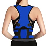 Adjustable Back Support Posture Corrector Brace Posture Correction Belt for Men Women Back Shoulder Support Belt Size L Blue