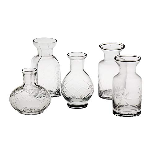 - ART & ARTIFACT Set of 5 Petite Glass Bud Vases in Clear or Jewel Tones- Fun Shapes, 2 3/4