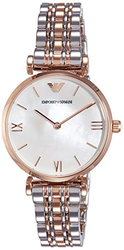 3 Ladies Pearl and Rose Gold Gianni T-Bar Watch (Emporio Armani Rose)