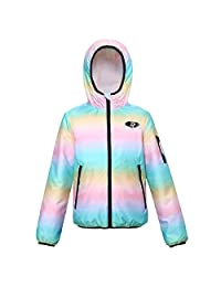 Girls' Lightweight Water Resistant Zip-Up Hooded Windbreaker Jacket