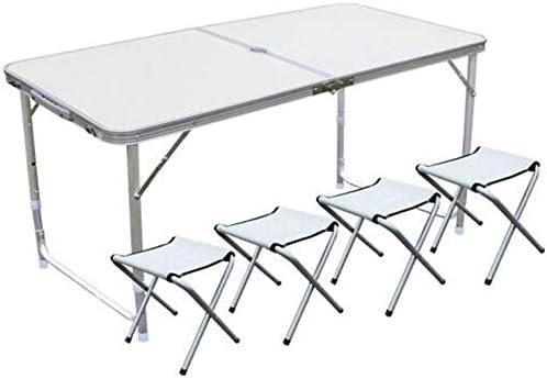 MJK Tische, Stühle Hocker Set Ultraleicht Tragbar Höhenverstellbar Klapp Camping Garten Party Grillen Hausaufgaben,Weiß
