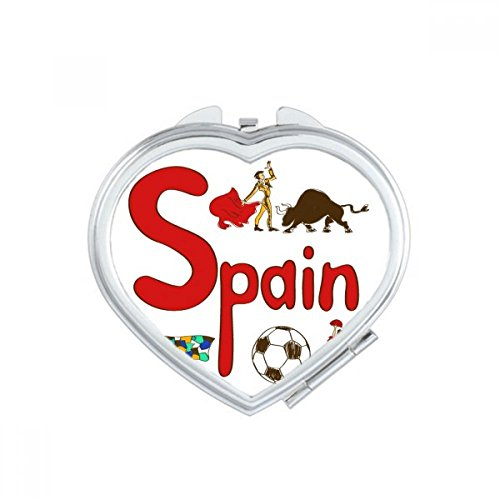 DIYthinker Spain National symbol Landmark Pattern Heart Compact Makeup Mirror Portable Cute Hand Pocket Mirrors Gift by DIYthinker