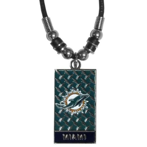 NFL Miami Dolphins Diamond Plate Rope Necklace, 20-Inch -