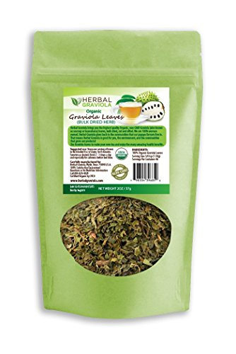 Graviola (Soursop) Loose Leaf Tea - 100% Organic, non-gmo, Dried, Cut & Sifted - Caffeine Free - Natural Herbal Stress Relief & Calm Relaxation - Cell & Immune Support - 2oz Pouch - Herbal Goodness - Papaya Leaf Cut