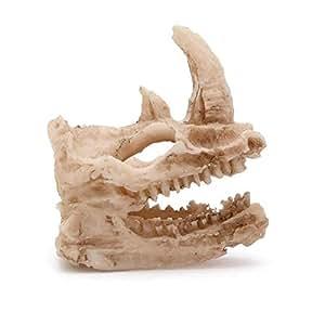 Resin Skull Aquarium Decoration Simulation Statue Landscape Reptile Cave Artificial Rhino Head Terrarium Ornament