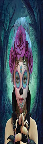 - Horror 3D Decorative Film Privacy Window Film No Glue,Frosted Film Decorative,Scary Clown like Girls Showing her Hands with Gloves an Flowers in Her Head Print,for Home&Office,17.7x70.8Inch Multicolor