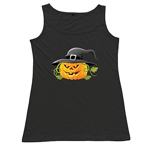 Halloween Pumpkin Woman 100% Cotton Tops Black -