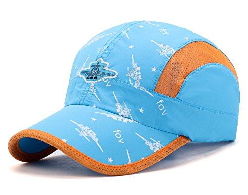 Home Prefer Kids Boys Lightweight Quick Drying Sun Hat Outdoor Sports UV Protection Caps Mesh Side Ball Cap Lake Blue