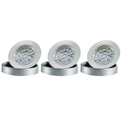 Tresco Lighting L-3EQPWNI-KIT 2.5W EquiLine Puck with Surface Mount Ring, Power Supply and Dimmer Included (Pack of 3), Nickel Finish