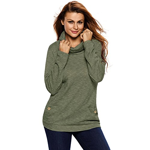 BENNINGCO Womens New Season Essential Long Sleeve Top(Green,M) (Hollywood Costumes For Sale Australia)