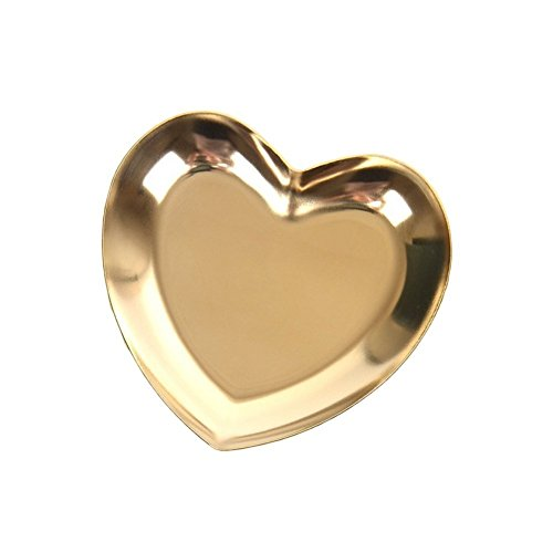 Owlgift Heart-Shaped Small Jewelry Tray, Ring Stainless Steel Dish, Earrings Trinket Pallet, 3.6 x 3.4 Inches, Golden