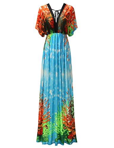 Bohemian Queen Empire Maxi Boho Batwing Sleeve Dress With Plus Size Bluegreen S