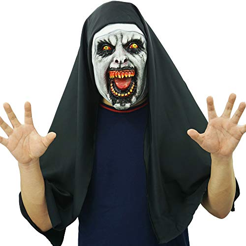 Hongzhi Latex Nun Mask Horrorible Scary Zombie FaceHalloween Costume (A)]()