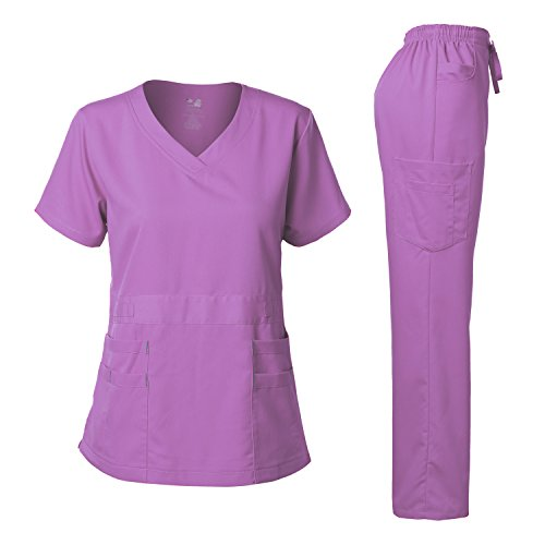 (Dagacci Medical Uniform Women's Scrubs Set Stretch Ultra Soft Top and Pants (M, Lavender))
