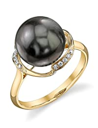 10mm Tahitian South Sea Cultured Pearl & Diamond Ruby Ring in 14K Gold