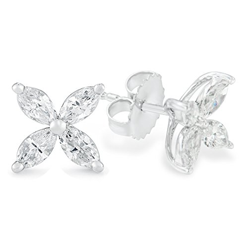 14K White Gold Marquise-cut 8-stone Diamond Studs Earrings (1.00cttw,G-H color, SI1-SI2 - Victoria Tiffany And Co