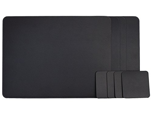 Nikalaz Set of Black Placemats and Coasters, 4 Table Mats and 4 Coasters, Italian Recycled Leather, Place Mats 18'' x 13'' and Coasters 3.9'' x 3.9'', Dining table (Leather 4 Coaster Set)