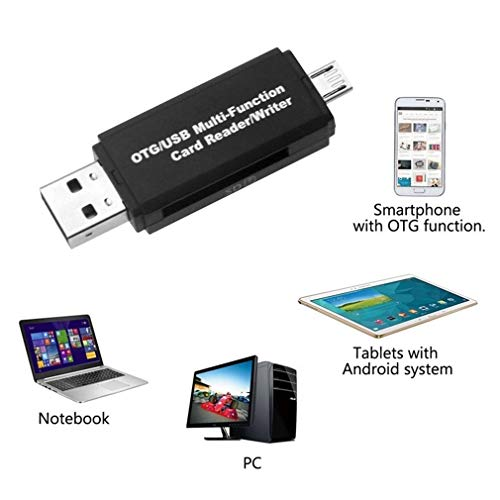 (Multifunction Smart OTG Card Reader Writer High-Speed USB 2.0 SD Micro-SD Card Reader USB Adapter for Android Phone Computer)