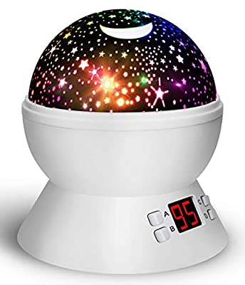 Star Projector Night Light for Kids, Sky Romantic Moon Lamp with LED Timing Shutdown Function, Bedroom Decor Gift for Baby Boys Girls Teens