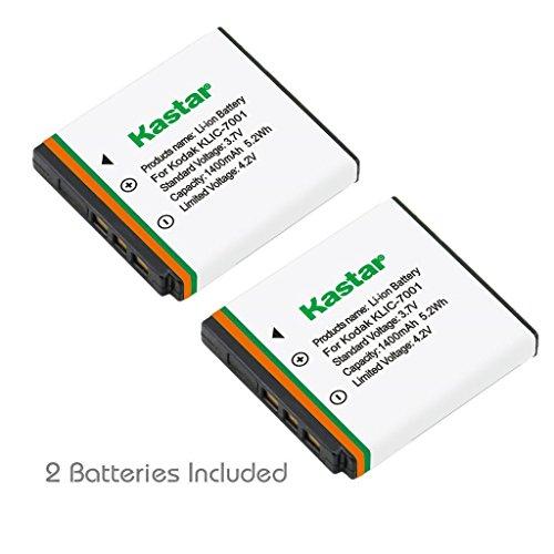 Kastar Battery (2-Pack) for Kodak KLIC-7001 and Kodak EasyShare M320, M340, M341, M753 Zoom, M763, M853 Zoom, M863, M893 IS, M1063, M1073 IS, V550, V570, V610, V705, V750 - Klic Replacement 7001 Battery