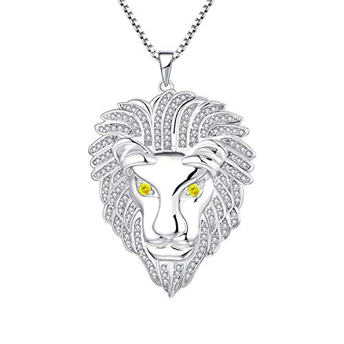 """YL Lion Necklace 925 Sterling Silver Large Cool Hiphop Pendant for Men Jewelry with 20"""" Box Chain from YL"""