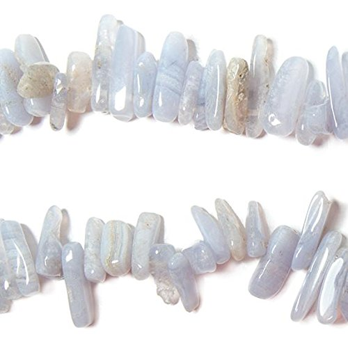 - 11-22mm Blue Lace Agate top drilled elongated plain nugget 15 inch 75 Beads