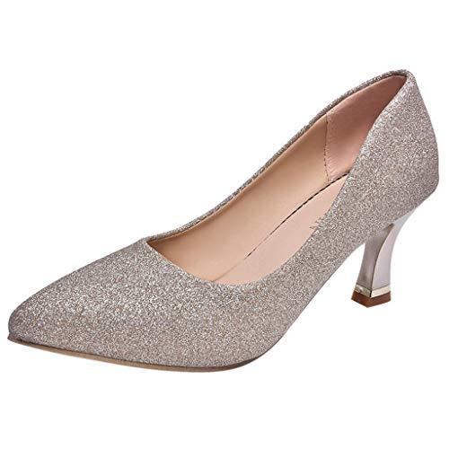 LuckyGirls Zapatos de Tacón de Mujer Slip-On Lentejuelas Moda Casuales Zapatos de Fiesta Zapatillas 7cm: Amazon.es: Deportes y aire libre