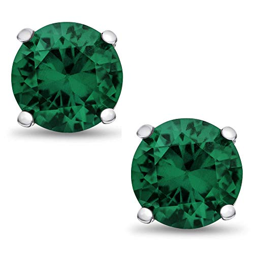 Genuine 5mm Brilliant Round Green Emerald Rhodium Plated Sterling Silver Basket Setting Stud Earrings
