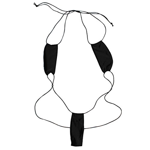 ACSUSS Women Lingerie Slingshot Thong Teardrop Bikini G String Bodysuit Underwear Black One Size