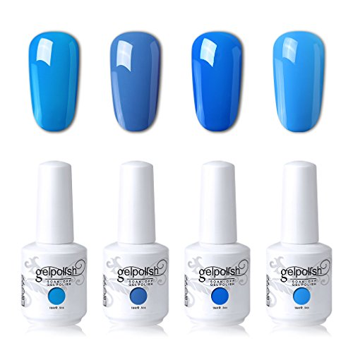 Elite99 Soak Off Gel Polish Lacquer UV LED Nail Art Manicure Kit 4 Colors Set LM-C104 + Free Gift (20pcs Gel Remover Wraps)