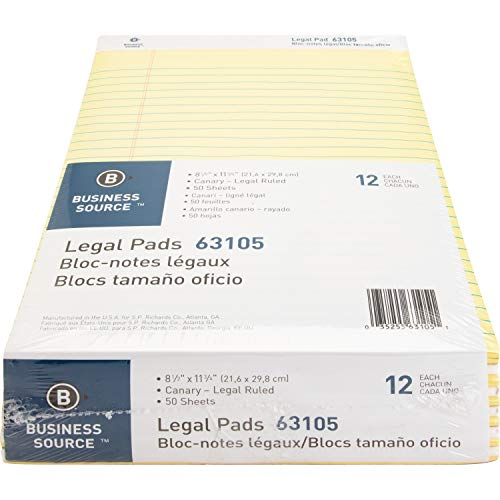 "Business Source Micro-Perforated Legal Ruled Pads, Canary Paper, 8-1/2""x11-3/4"" (63105) - Pack of 12"