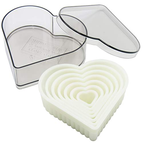 Heart Fluted Cookie Cutter Set - 7 Piece Nylon Fondant Cutter Set Biscuit Cutter with Plastic Storage Case
