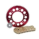 Primary Drive Alloy Kit & Gold X-Ring Chain Red Rear Sprocket - Fits: Honda CRF450R 2009-2016