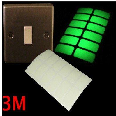 stickerslab occultant –  Interrupteur Film autocollant fluorescent lumineux ré flé chissant la lumiè re 3 m Lot de 24.