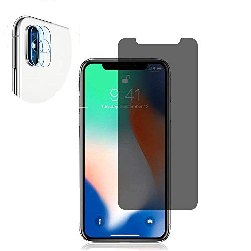 [4 Pack] iPhone X/iPhone Xs Anti-Spy Screen Protector Glass and Camera Lens Protector,Full Coverage iPhone X/XsTempered Glass Privacy Screen Protector [Case Friendly] [Bubble-Free]