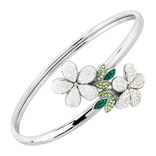 (Crystaluxe Floral Bypass Cuff Bracelet with Swarovski Crystals in Sterling)