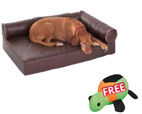Divan Wellness Dog Sofa Brown 110 x 70 x 32 cm Memory foam Raised, Padded Edge Removable Cover, Hand-wash up to 30°C Distressed Artificial Leather FREE Crazy Squirrel Dog Toy
