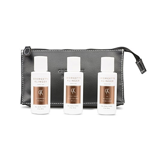 Georgette Klinger 3pc Skin Care Kit with Luxury Travel Bag - Gift Sets Include Travel Size Coconut Cleansing Milk, Vitamin C Toner and 3X Makeup (Georgette Two Piece)
