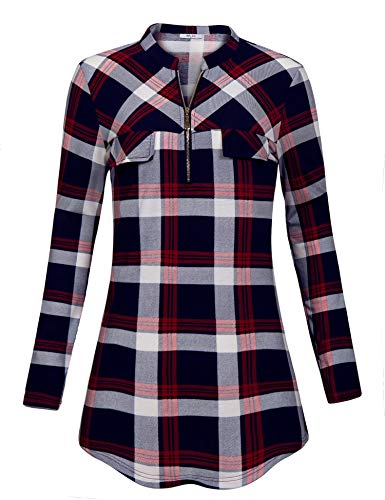 Red Tab Fit Relaxed - Diphi LiLi Blouse for Work Women's Relaxed Fit Plaid Long Sleeve Dressy Draped Comfort Tunics with Roll Tabs Casual Cute Print Turn Down Collar Tartan Checked Tops for Office Wine XX-Large
