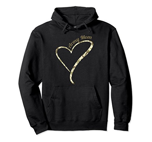 Proud Mom Sweatshirt - Unisex Proud Army Mom Hoodie | Military Mom Camo Pullover Hoodie XL: Black