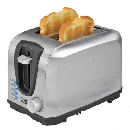 Kalorik Stainless Steel 2 Slice Toaster- LED Light Indicator Multi Functional Toaster with 7 Level Adjustable Browning Controls- 700 Watts
