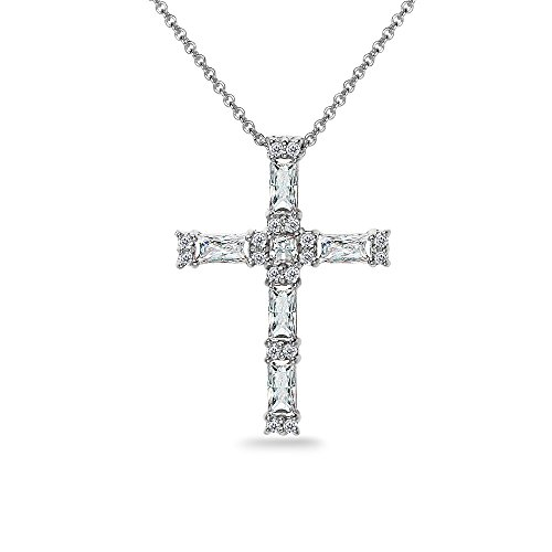GemStar USA Sterling Silver Baguette-Cut Cross Necklace Made with Swarovski Zirconia