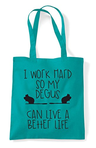 Life A Themed Work Tote Better My Funny Hard Can Bag Emerald So Animal Cute Have Shopper I Degus OUqzw0xqF