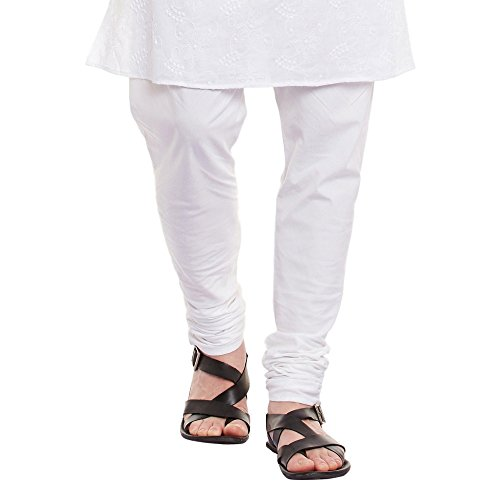 ShalinIndia Mens Embroidered Cutwork Cotton Kurta With Churidar Pajama Trousers Machine Embroidery,White Chest Size: 42 Inch by ShalinIndia (Image #5)