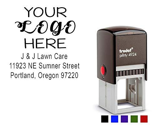 Custom Logo Stamp. Business Logo Stamper with Return Address or Company Details up to 5 Lines. Choose Your Ink Color - Size 1 5/8 x 1 5/8.
