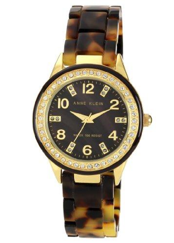 Anne Klein Women's 10/9956BMTO Swarovski Crystal Accented Gold-Tone Tortoise Resin Watch (Anne Klein Resin Watch compare prices)