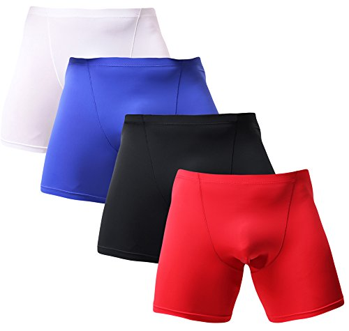Men's Boxer Briefs Dry Fast No Ride Up Ice Silk Underwear for Men 4 Pack M