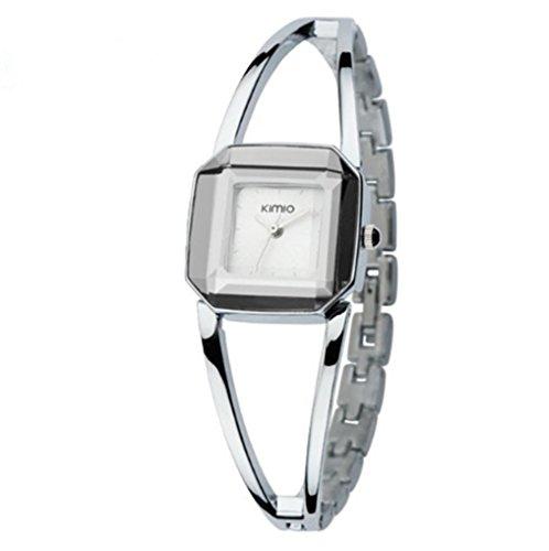 KIMIO Luxury Watches Women Square Watch Stainless Steel Fashion Lady Bracelet Watch Women Quartz Watch for Woman (Silver)