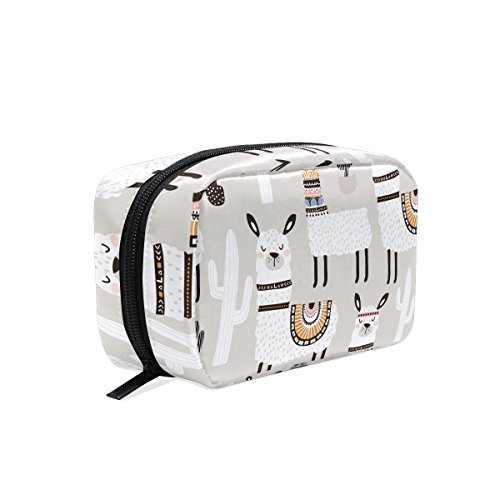 ALAZA White Llama Cosmetic Bag Black Zipper Storage Bag Portable Ladies Travel Square Makeup Brushes Bag(6.5x 2.5x 4)